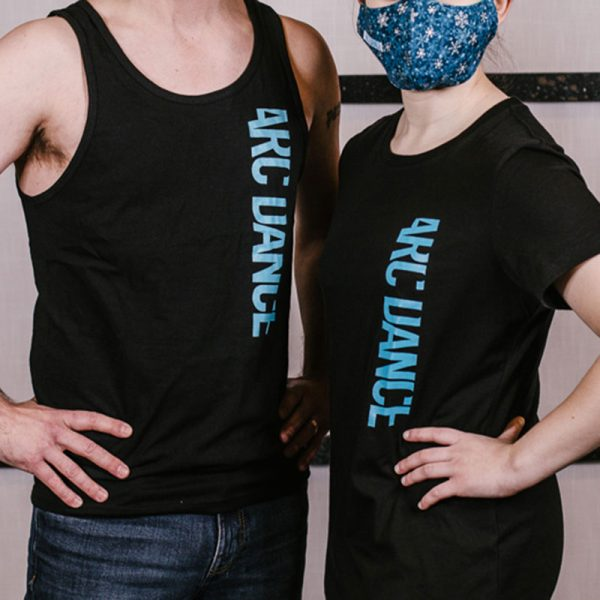ARC Dance black tshirt and tank with blue letters