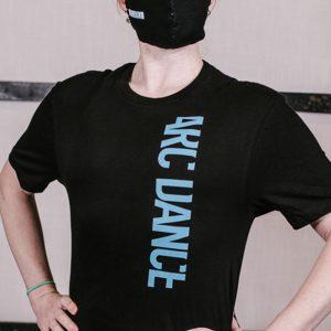 ARC Dance black tshirt blue letters